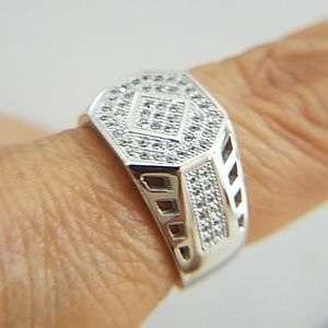 Men's Ring with CZ 12mm size 7 8 9 10 11 12 13